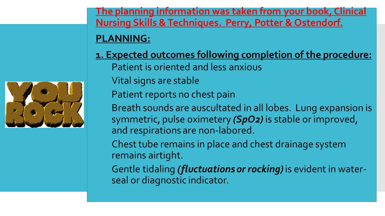 The planning information was taken from your book, Clinical Nursing Skills & Techniques. Perry, Potter & Ostendorf.