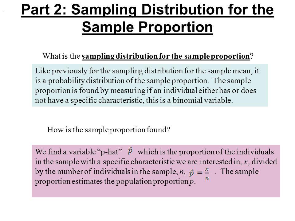 Part 2: Sampling Distribution for the Sample Proportion
