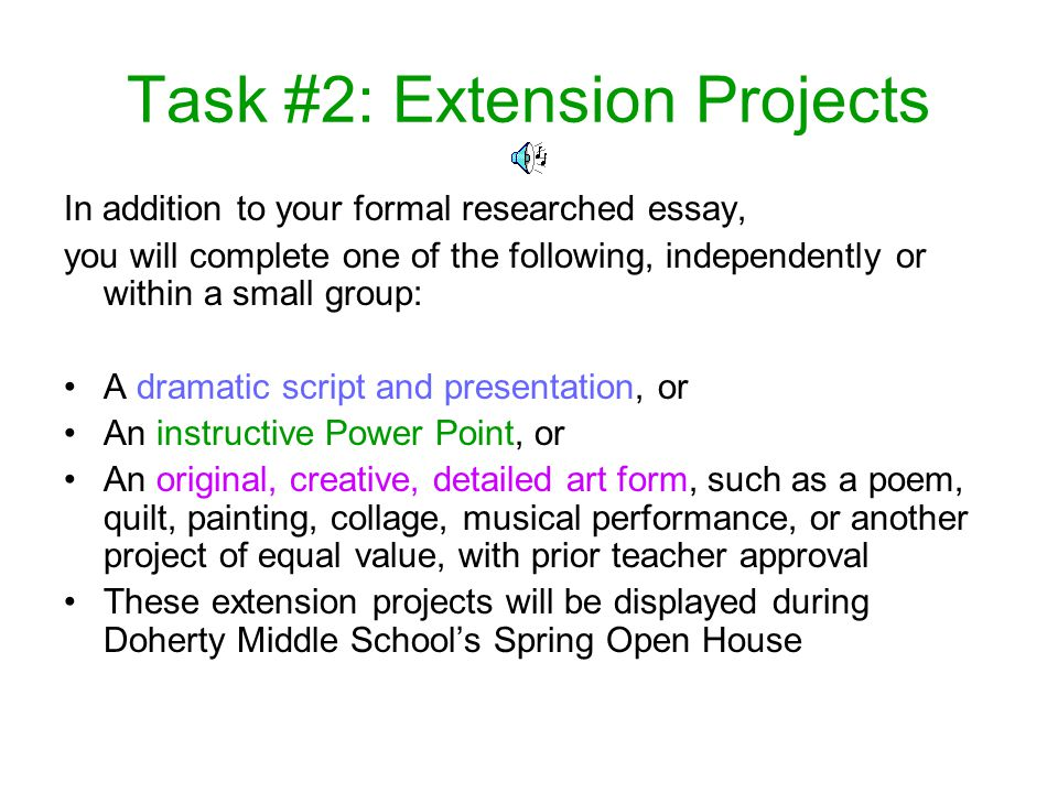 Task #2: Extension Projects
