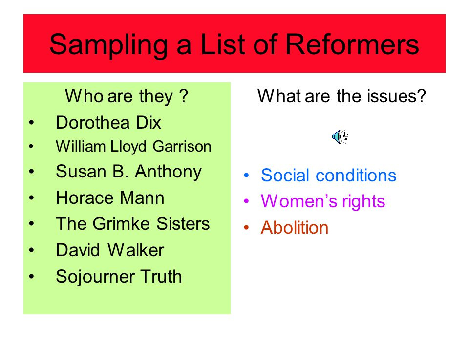 Sampling a List of Reformers