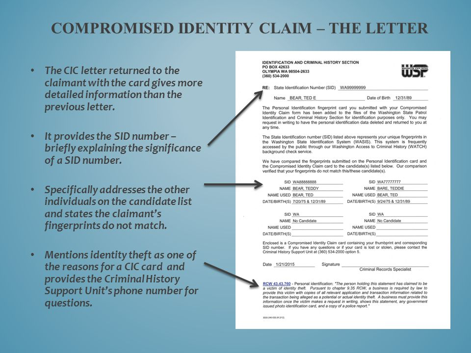 Compromised Identity Claim – the Letter