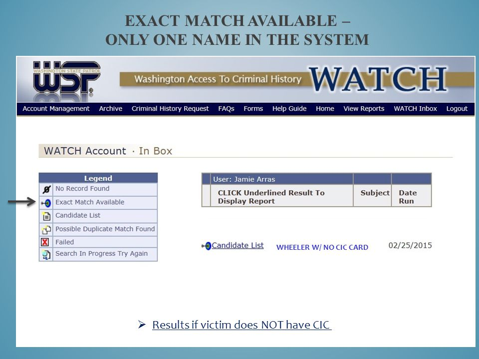 Exact Match Available – only one name in the system