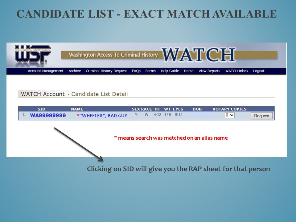 Candidate list - Exact Match available