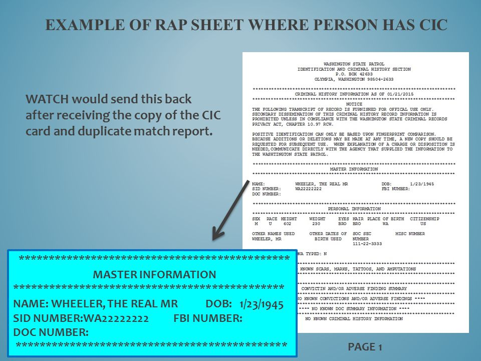 EXAMPLE OF RAP SHEET WHERE PERSON HAS CIC