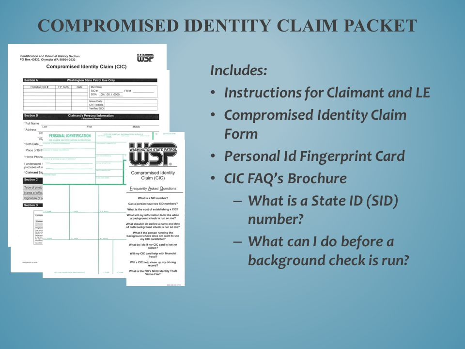 Compromised Identity Claim Packet