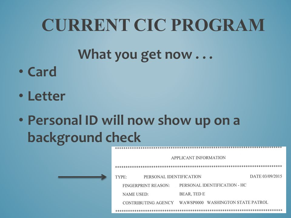 Current Cic program What you get now . . . Card Letter