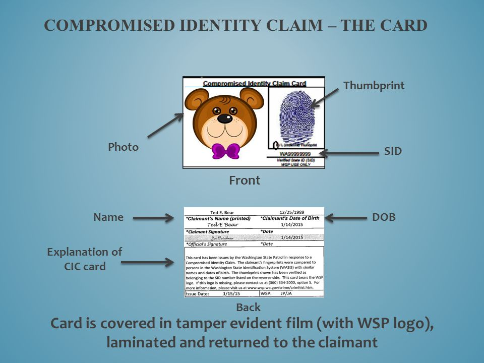 COMPROMISED IDENTITY CLAIM – THE card