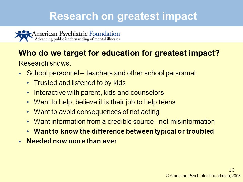 Research on greatest impact