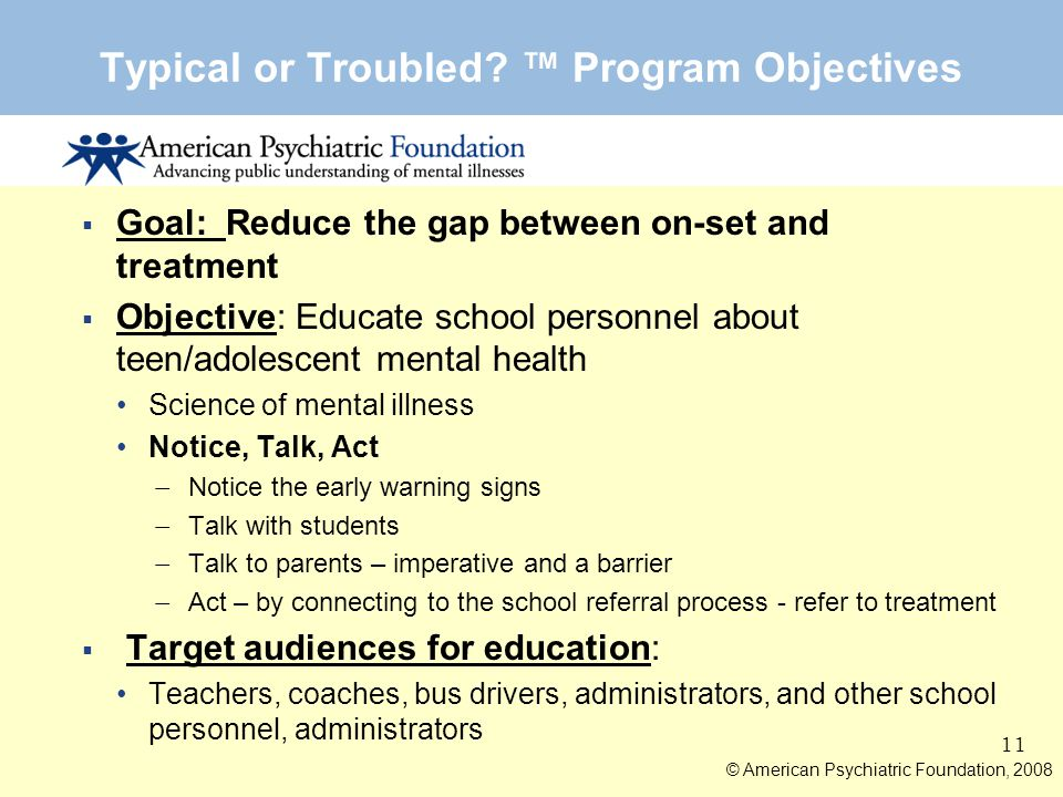 Typical or Troubled ™ Program Objectives