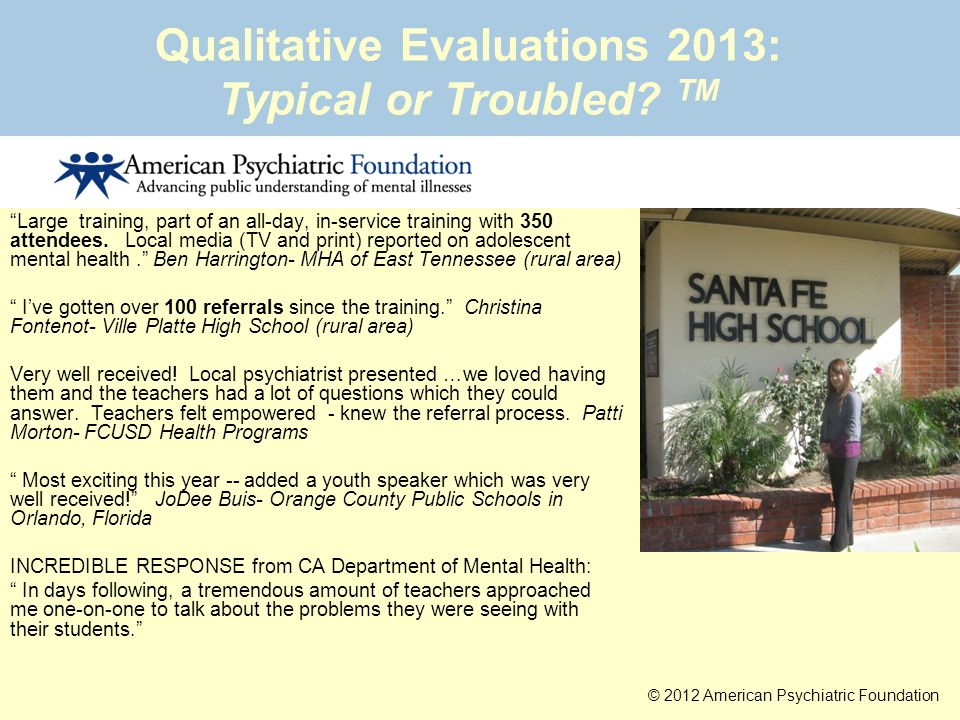 Qualitative Evaluations 2013: