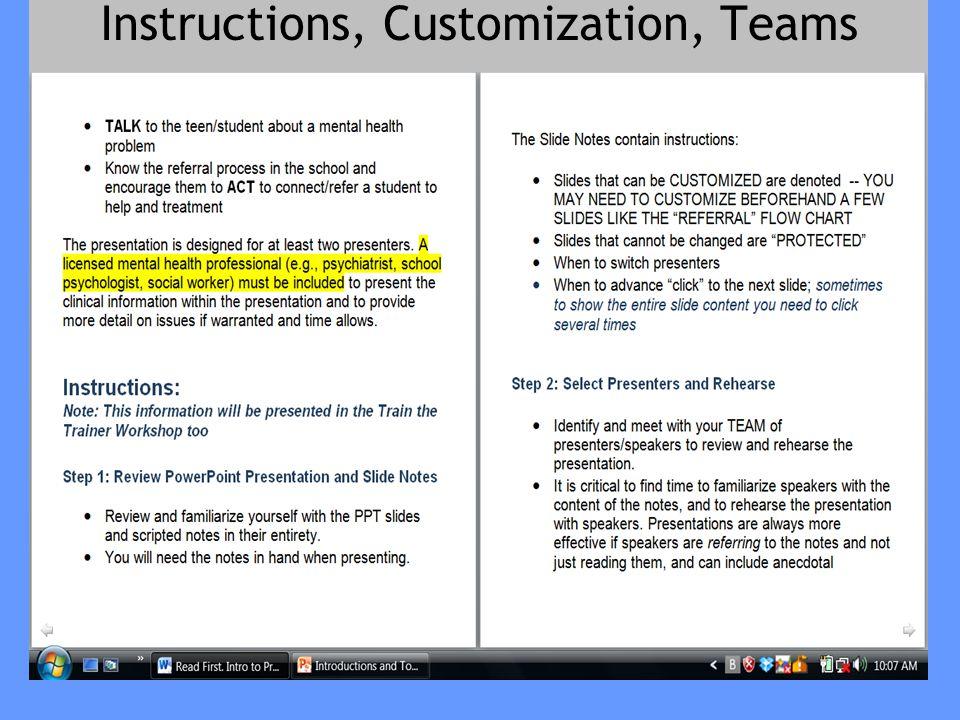 Instructions, Customization, Teams