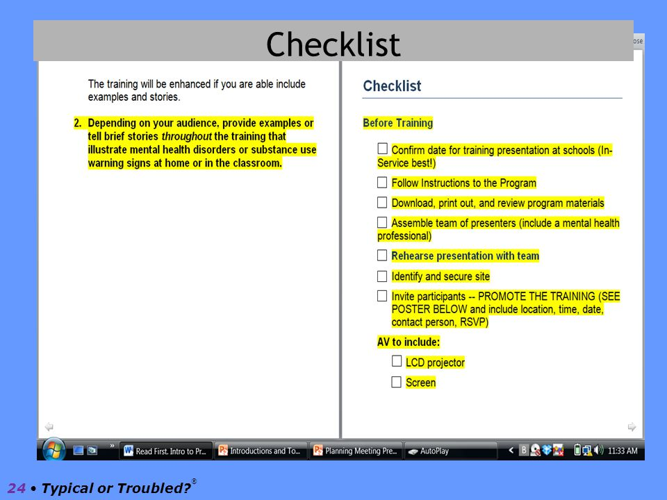 Checklist 24 • Typical or Troubled ®