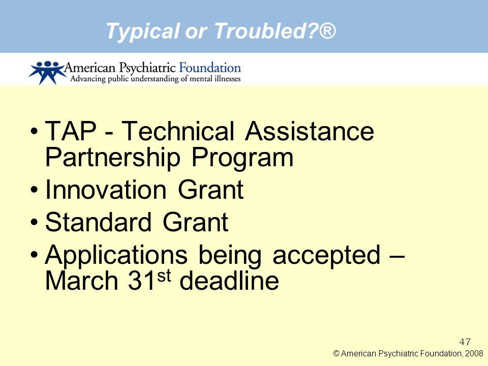TAP - Technical Assistance Partnership Program Innovation Grant