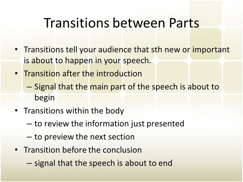 Transitions between Parts