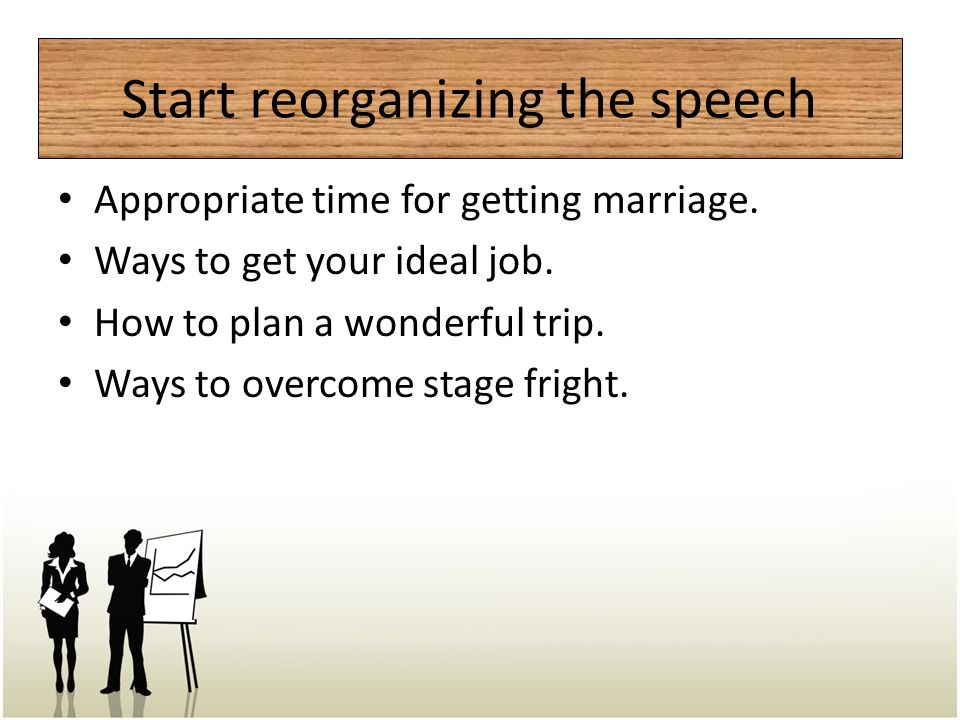 Start reorganizing the speech