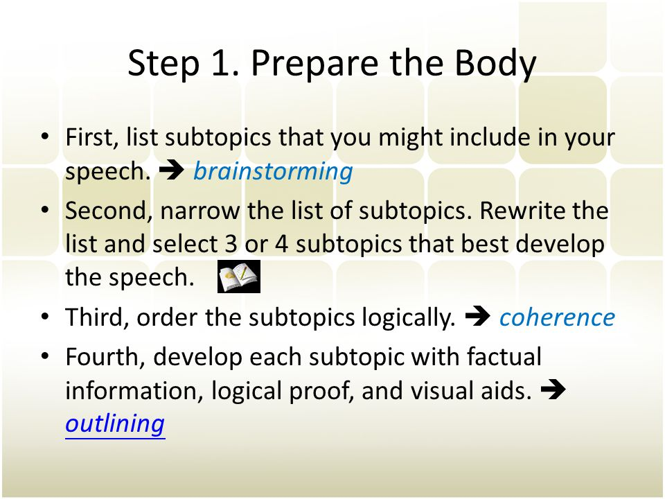 Step 1. Prepare the Body First, list subtopics that you might include in your speech.  brainstorming.