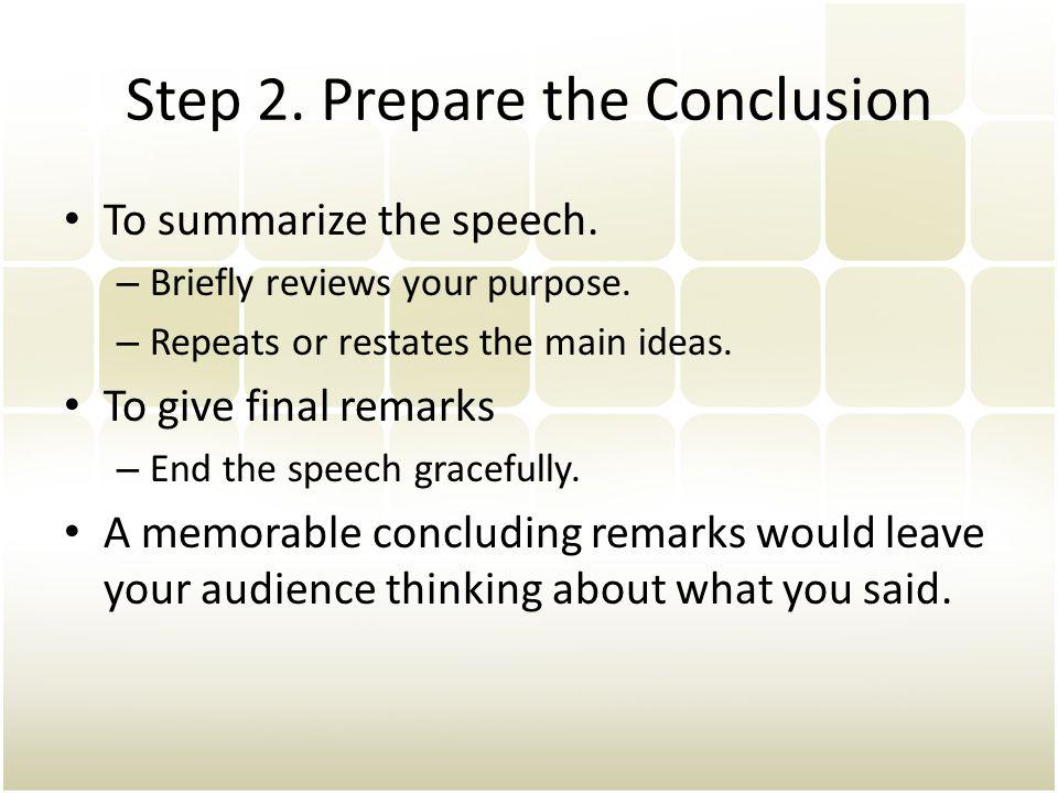 Step 2. Prepare the Conclusion