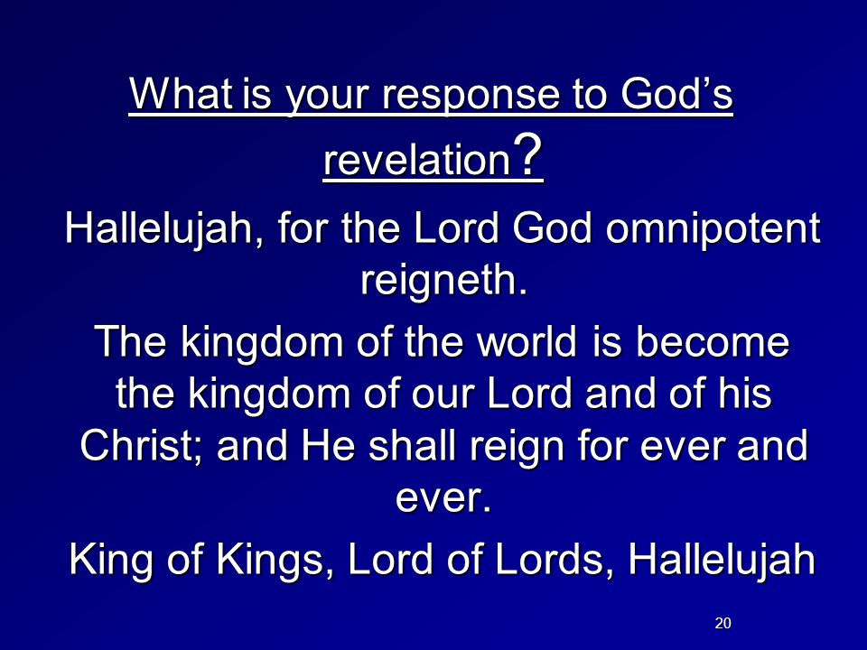 What is your response to God's revelation
