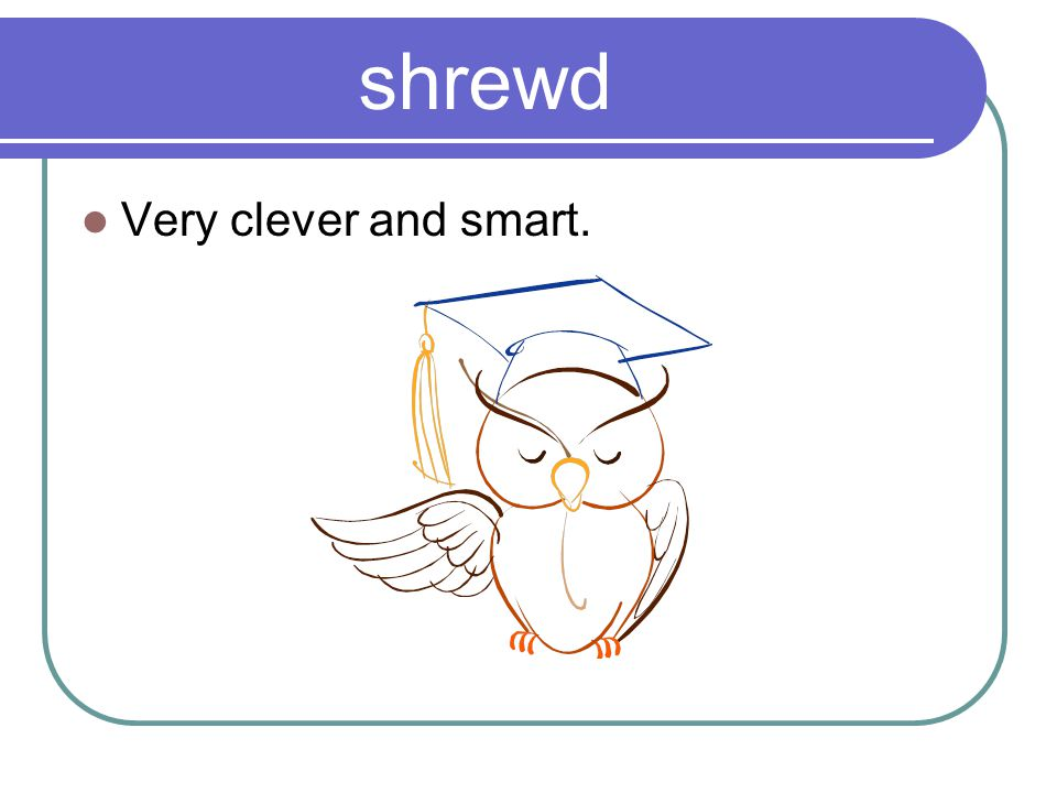 shrewd Very clever and smart.