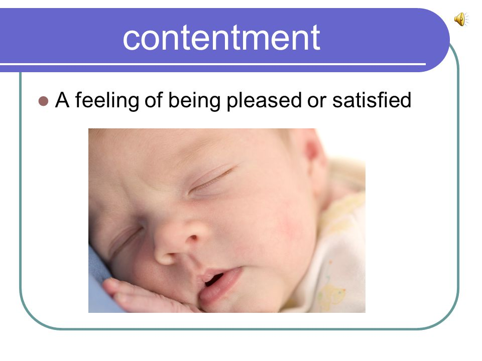 contentment A feeling of being pleased or satisfied
