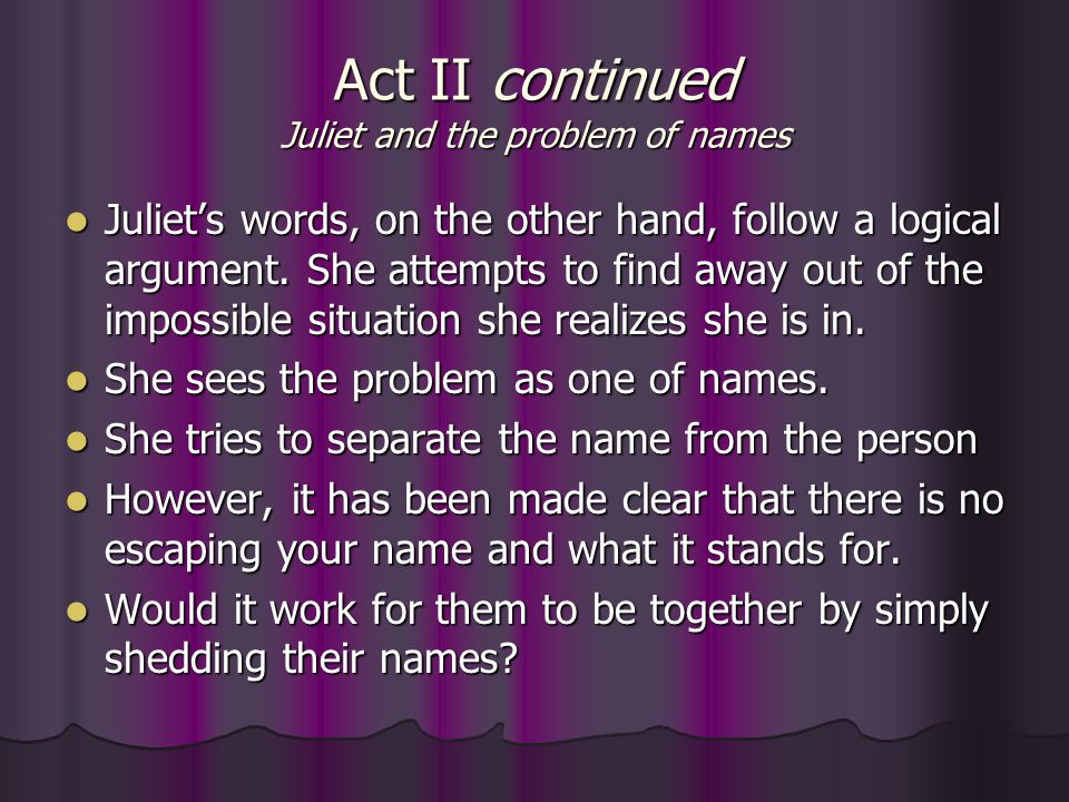 Act II continued Juliet and the problem of names