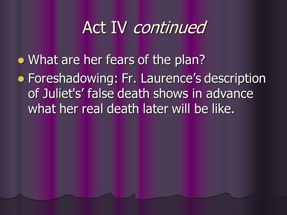 Act IV continued What are her fears of the plan