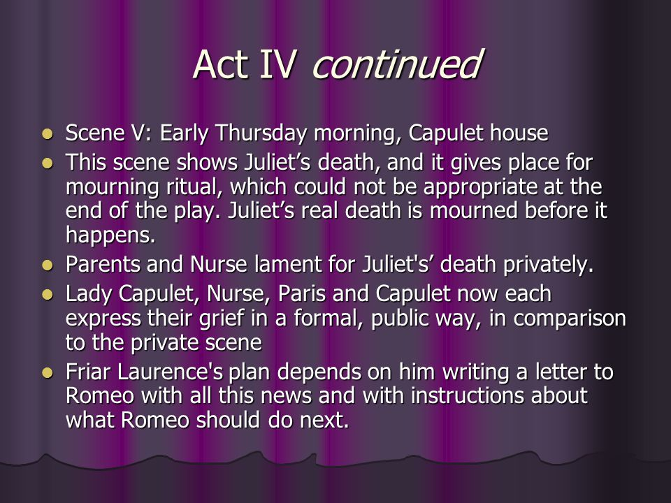 Act IV continued Scene V: Early Thursday morning, Capulet house
