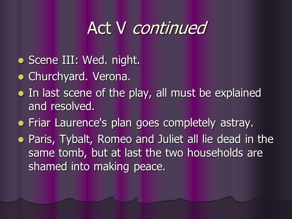 Act V continued Scene III: Wed. night. Churchyard. Verona.
