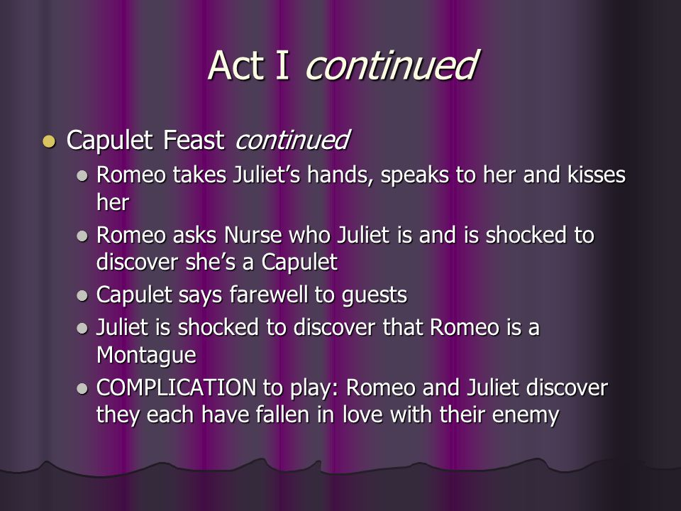 Act I continued Capulet Feast continued