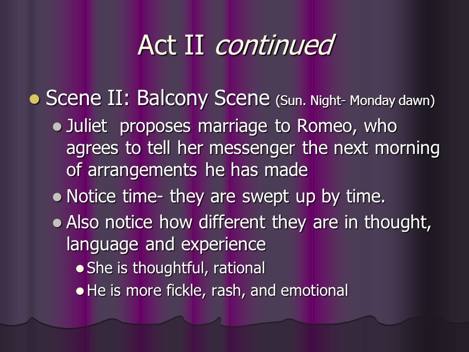 Act II continued Scene II: Balcony Scene (Sun. Night- Monday dawn)