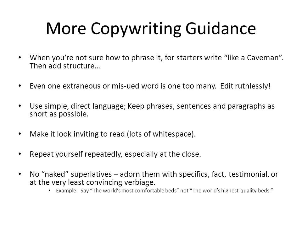 More Copywriting Guidance