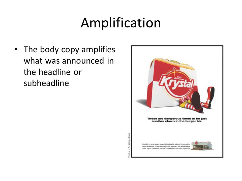Amplification The body copy amplifies what was announced in the headline or subheadline