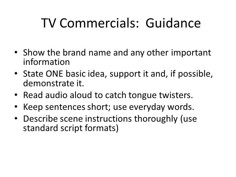 TV Commercials: Guidance