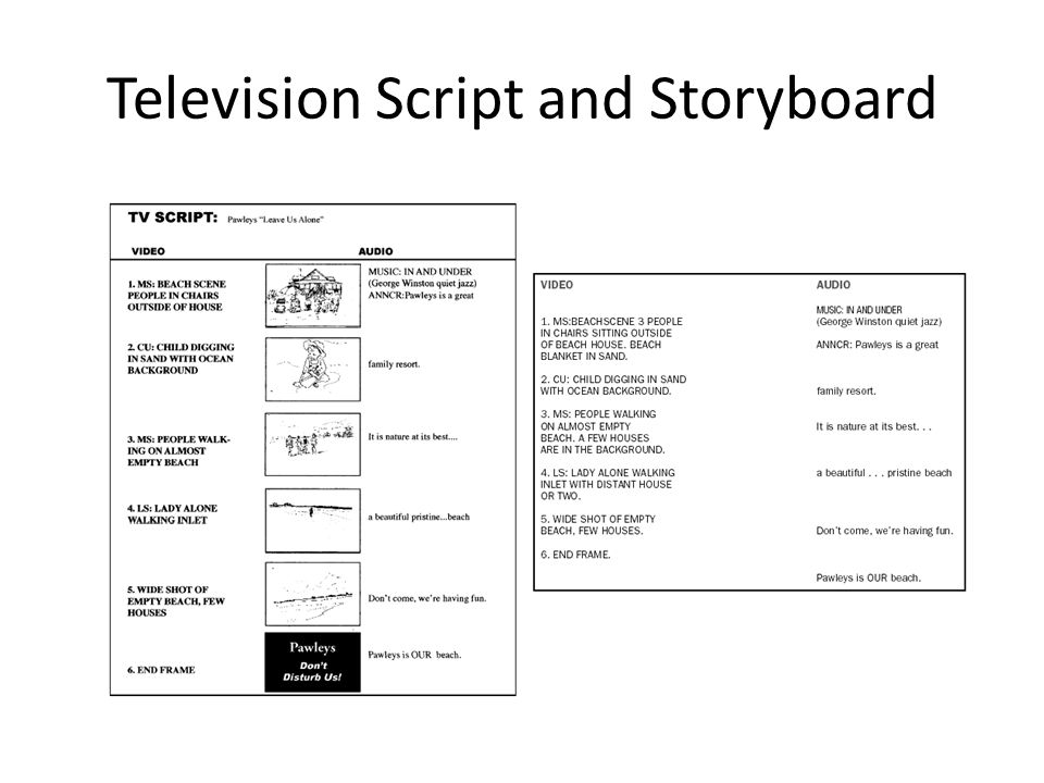 Television Script and Storyboard