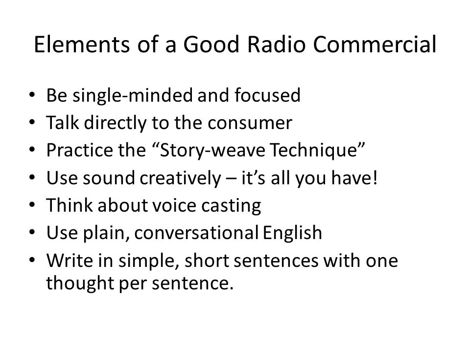 Elements of a Good Radio Commercial