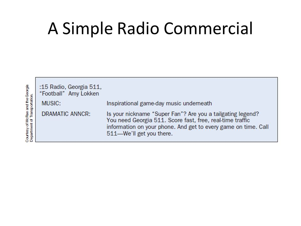 A Simple Radio Commercial
