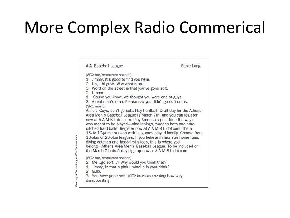 More Complex Radio Commerical