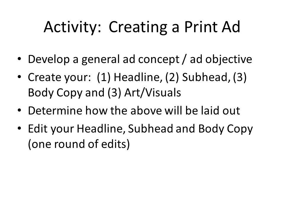 Activity: Creating a Print Ad
