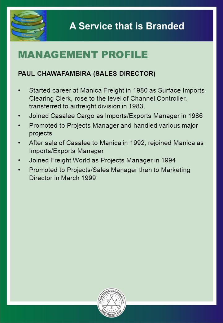 MANAGEMENT PROFILE PAUL CHAWAFAMBIRA (SALES DIRECTOR)