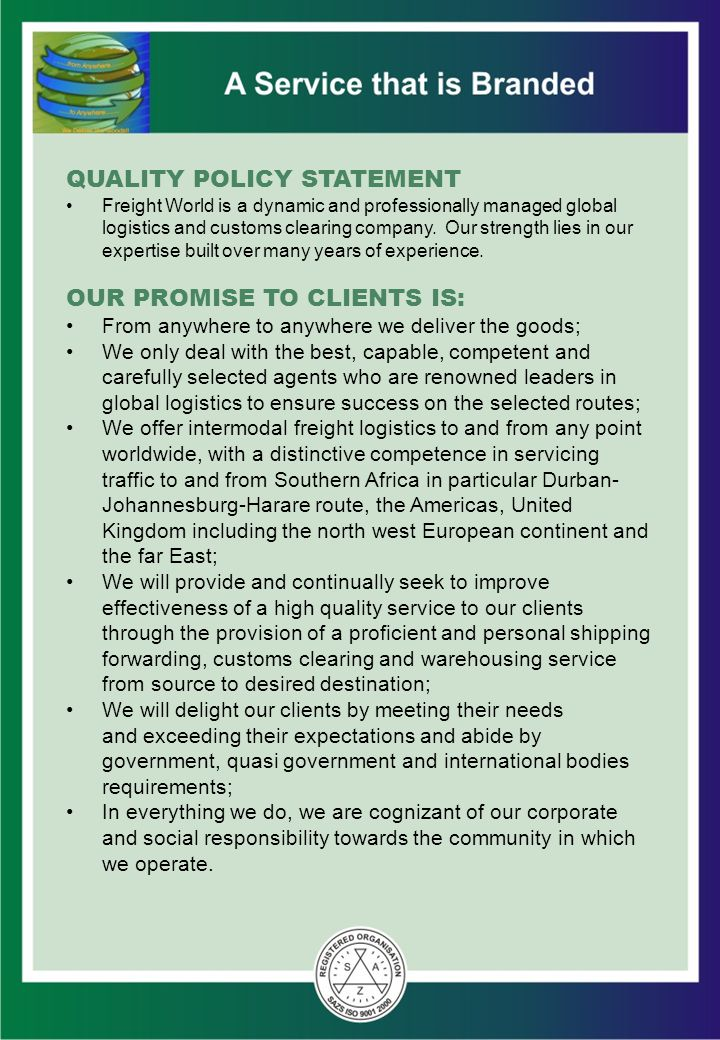 QUALITY POLICY STATEMENT