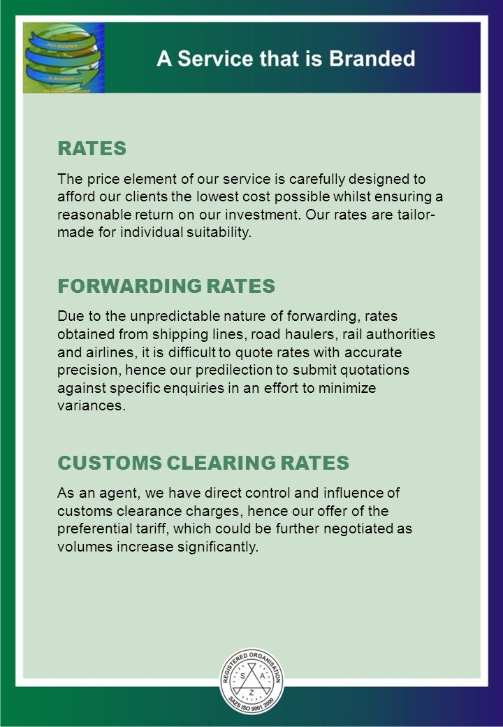 CUSTOMS CLEARING RATES