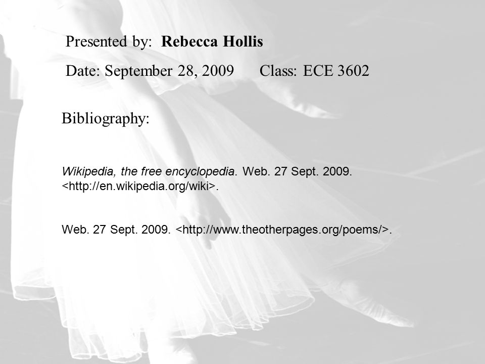 Presented by: Rebecca Hollis Date: September 28, 2009 Class: ECE 3602