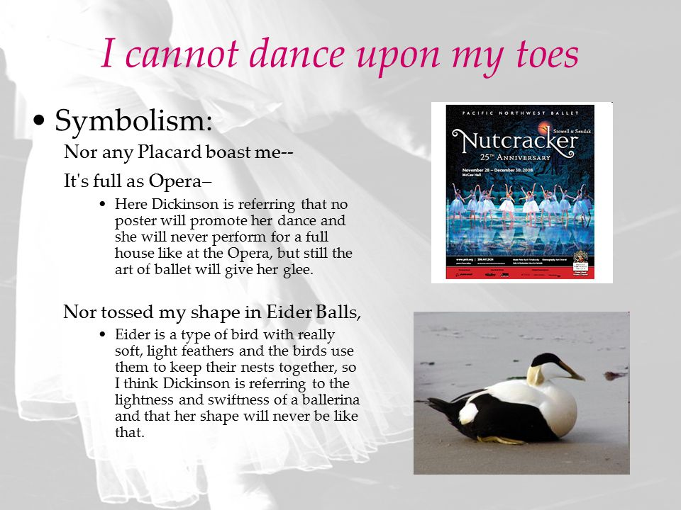I cannot dance upon my toes