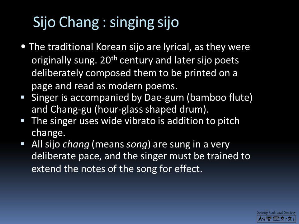 Sijo Chang : singing sijo