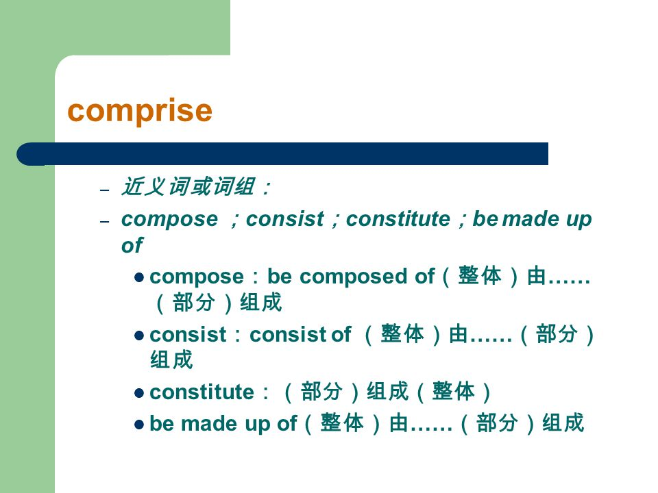 comprise 近义词或词组: compose ;consist;constitute;be made up of
