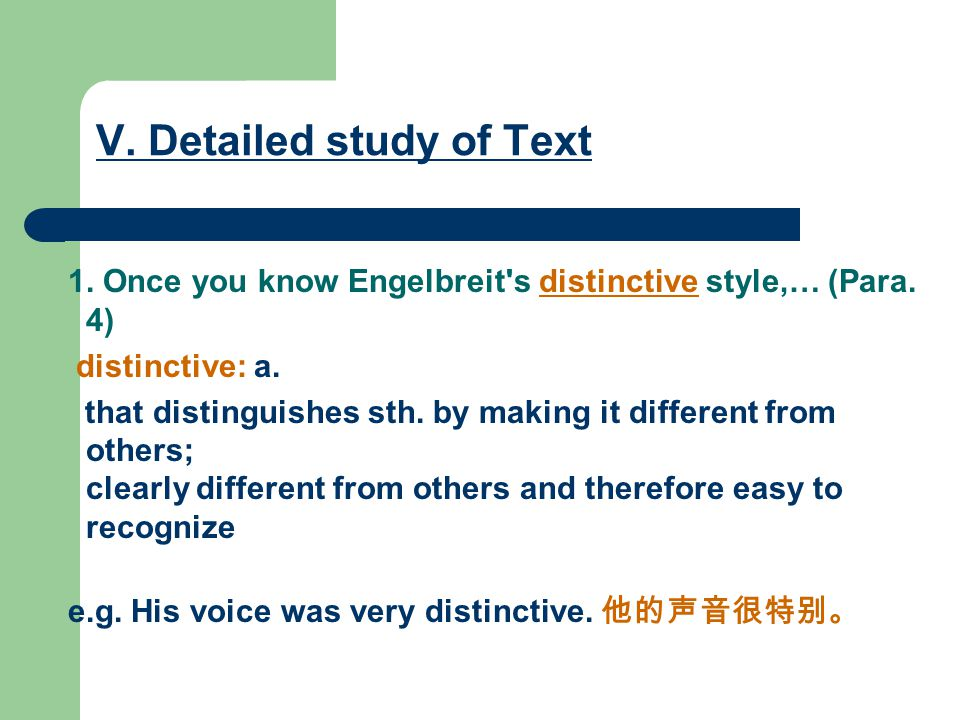 V. Detailed study of Text