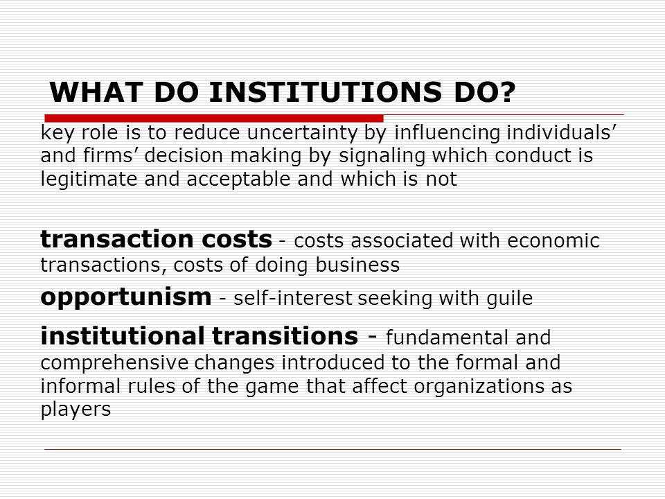 WHAT DO INSTITUTIONS DO