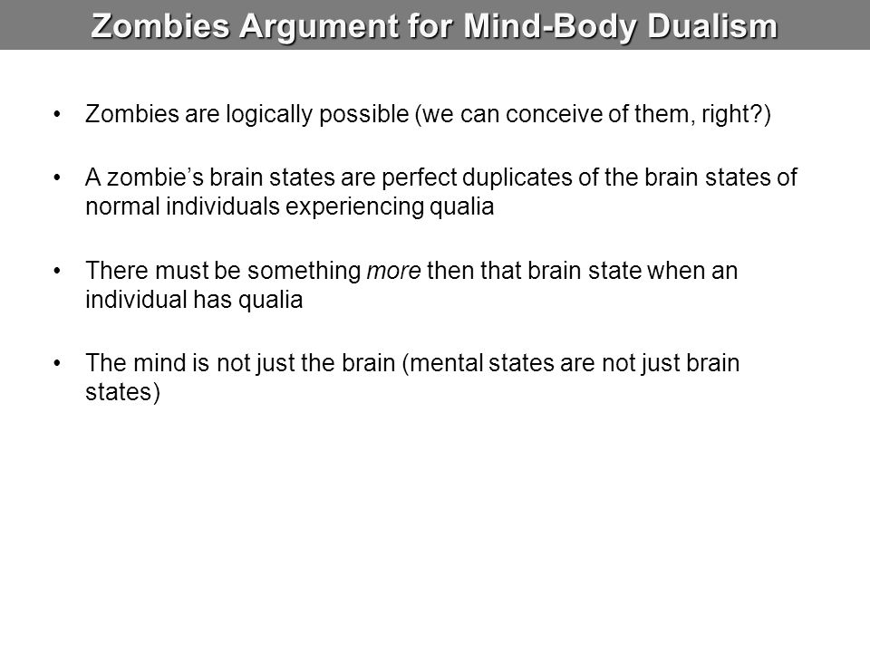Zombies Argument for Mind-Body Dualism