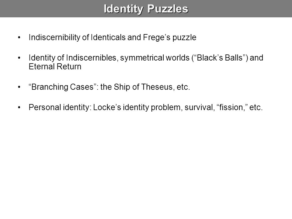Identity Puzzles Indiscernibility of Identicals and Frege's puzzle