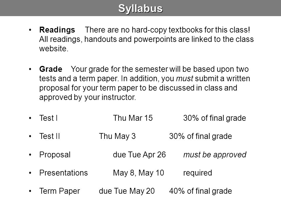 Syllabus Readings There are no hard-copy textbooks for this class! All readings, handouts and powerpoints are linked to the class website.